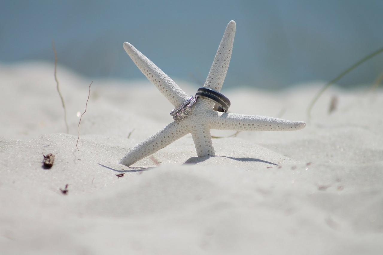 砂浜、結婚指輪、マリッジリング